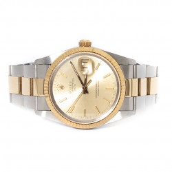 ROLEX OYSTER PERPETUAL DATE OURO E AÇO 345MM 1988